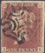 1841 1d Red SG8 Plate 18 'IK'